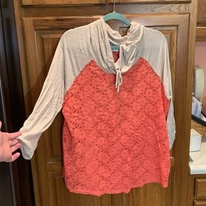 Coral lace shirt with 3/4 length sleeves- Size 0x